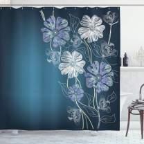"Ambesonne Art Shower Curtain, Hand Drawn Cherry Blossoms Fantasy Bridal Garden Anniversary Theme, Cloth Fabric Bathroom Decor Set with Hooks, 70"" Long, Blue Lavender"