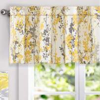 DriftAway Leah Abstract Floral Blossom Ink Painting Thermal Insulated Window Curtain Valance Rod Pocket 52 Inch by 18 Inch Plus 2 Inch Header Yellow Gray 1 Pack