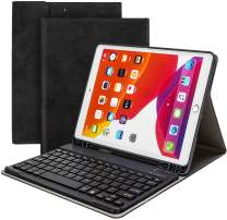 Wodswod iPad Keyboard Case for iPad 10.2 2019, iPad 7th Generation Case with Keyboard for iPad 10.2, Detachable Wireless Keyboard Cover with Pencil Holder for iPad 7th (Black)