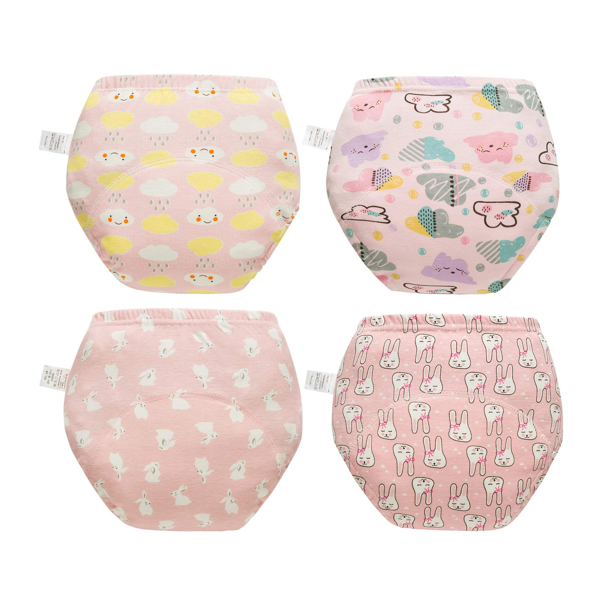 Skhls Unisex Baby Cotton Padded Potty Anti Leakage Training Pant 4 Pack 2T-4T