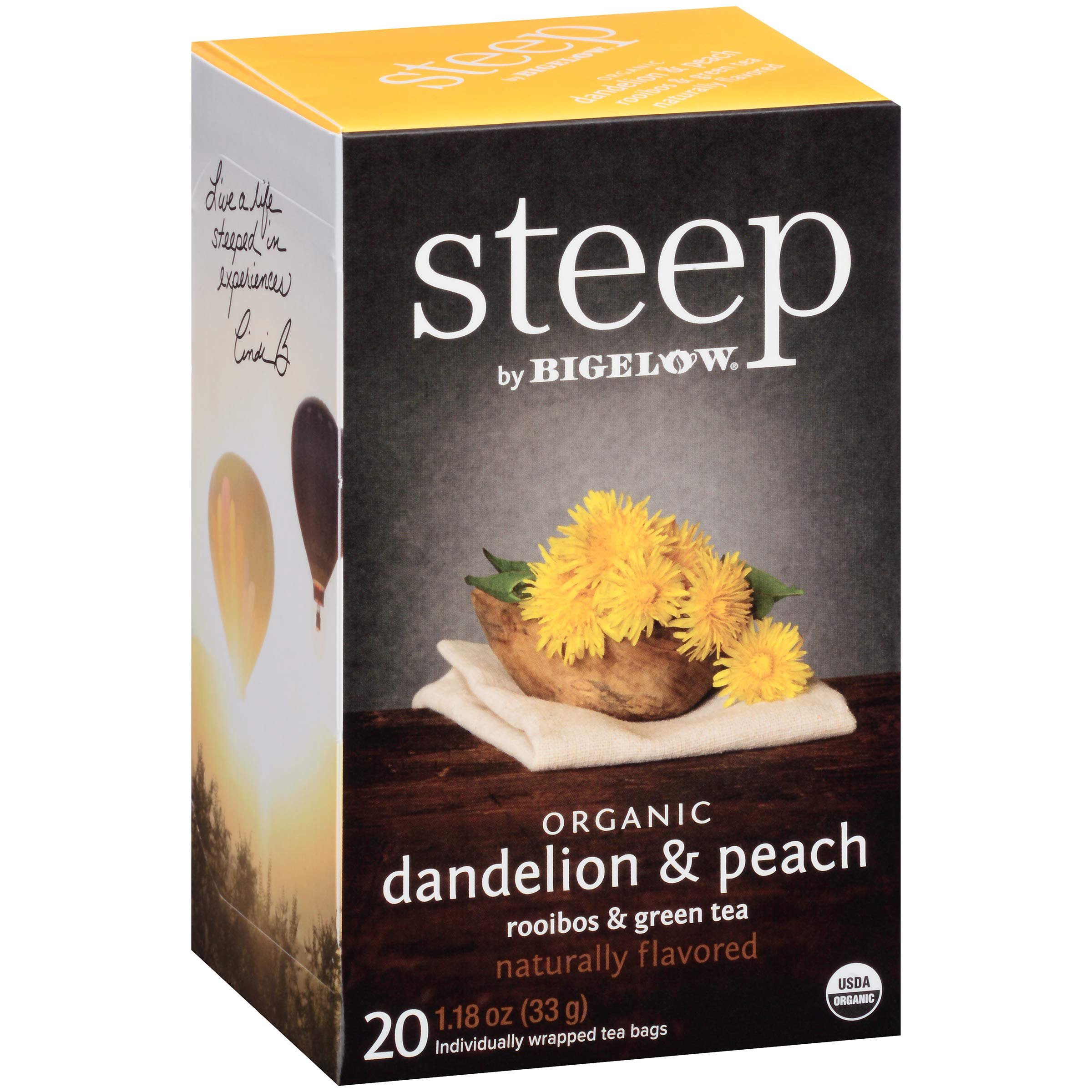 steep by Bigelow Organic Dandelion and Peach with Rooibos and Green Tea, 20 Count (Pack of 6), 120 Tea Bags Total