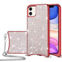 HoneyAKE Case for iPhone 11 Case Glitter Sparkle Bling Diamond Rhinestone Durable Hybrid TPU Bumper Hard Anti-Slip Back Cover with Crossbody Chain Strap Protective Cover for iPhone 11 Red