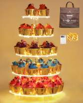 Jusalpha 5 Tier Circle Cupcake Stand With Light - Premium Cupcake Holder - Acrylic Cupcake Tower - Ideal for Weddings Birthday Parties, Candy Bar Decor 5RF-S (LED Light Option: Battery)