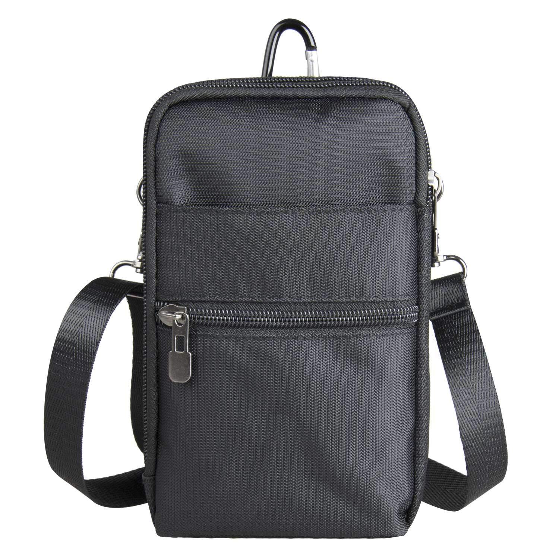 RFID Blocking Passport Purse Shoulder Travel Pouch 6.5 inch Mobile Phone Crossbody Shoulder Bag 3 Way Water Resistant(Black)