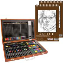"U.S. Art Supply 82 Piece Deluxe Art Creativity Set in Wooden Case with 9""x12"" 90 Pound 30 Sheet Sketch Pad"