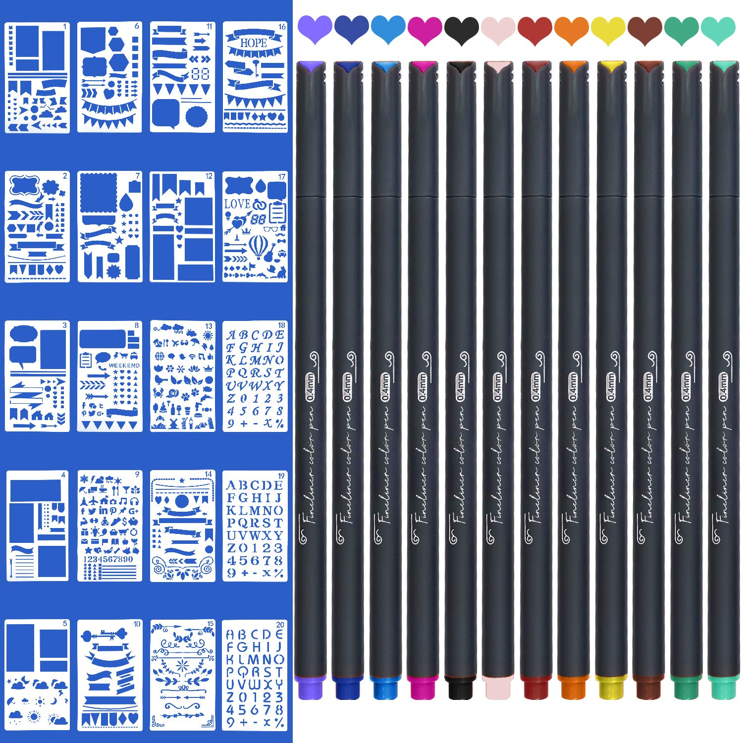 Office School Teacher Student Pen,24 Colors TWOHANDS Note Taking Pens,Fine Point,Journal Planner Pens,Fineliner Ink Pens,Fine Tip Markers for Writing Coloring Drawing