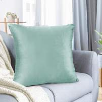 "Nestl Bedding Throw Pillow Cover 20"" x 20"" Soft Square Decorative Throw Pillow Covers Cozy Velvet Cushion Case for Sofa Couch Bedroom - Mint"