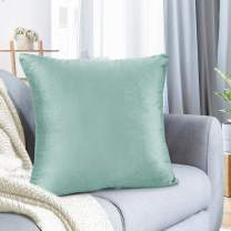 """Nestl Bedding Throw Pillow Cover 22"""" x 22"""" Soft Square Decorative Throw Pillow Covers Cozy Velvet Cushion Case for Sofa Couch Bedroom - Mint"""