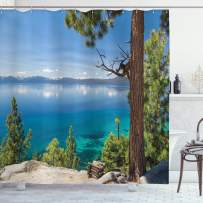 """Ambesonne Lake Shower Curtain, Panoramic Perspective from East Shore at Lake with Pine Trees and Reflections Image, Cloth Fabric Bathroom Decor Set with Hooks, 70"""" Long, Green Blue"""