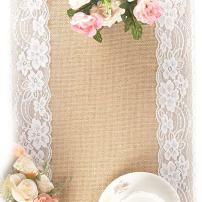 """Tebery 2 Pack Lace Natural Jute Burlap Hessian Table Runner, Country Outdoor Wedding Party and Farmhouse Decoration-12"""" x 108"""""""