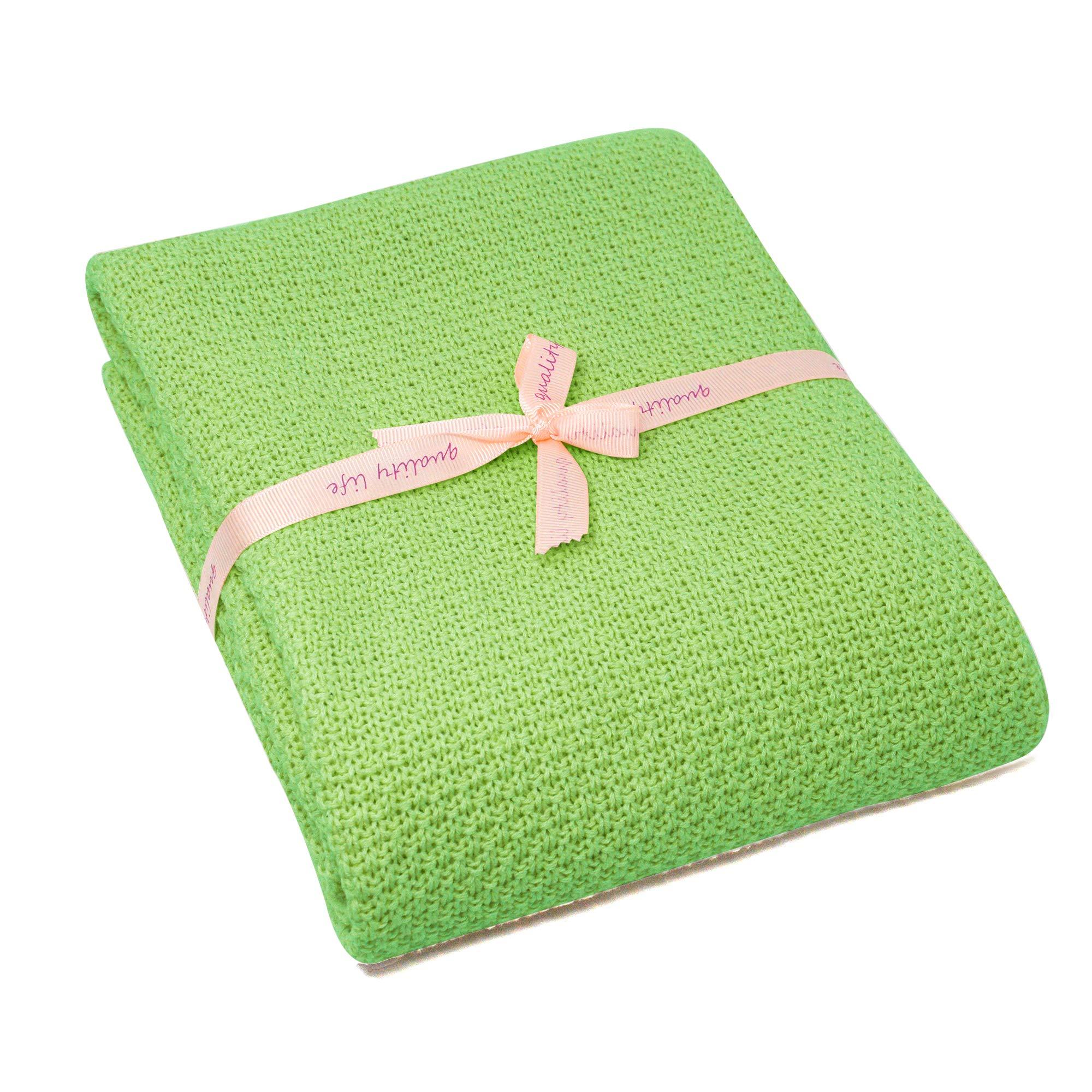 Spring Fever Baby Cozy Newborn Nursery All Season Organic Cotton Knit Bed Stroller Cover Throw Blanket Green