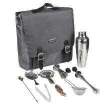 Jillmo Bartender Travel Kit, 11-Piece Cocktail Shaker Set with Waterproof Bartender Bag