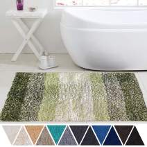 DEARTOWN Non-Slip Shaggy Bathroom Rug,Soft Microfibers Bath Mat with Water Absorbent, Machine Washable(Multicolor-Green,24x39 Inches)