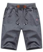 Tyhengta Mens Shorts Casual Drawstring Elastic Waist Workout Shorts with Zipper Pockets