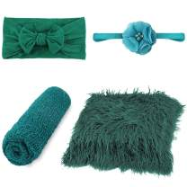 Newborn Photography Props - 4 PCS Baby Photo Props Long Ripple Wraps DIY Blanket with Headbands, Green Toddler Wraps Photography Mat Set for Baby Boys and Girls