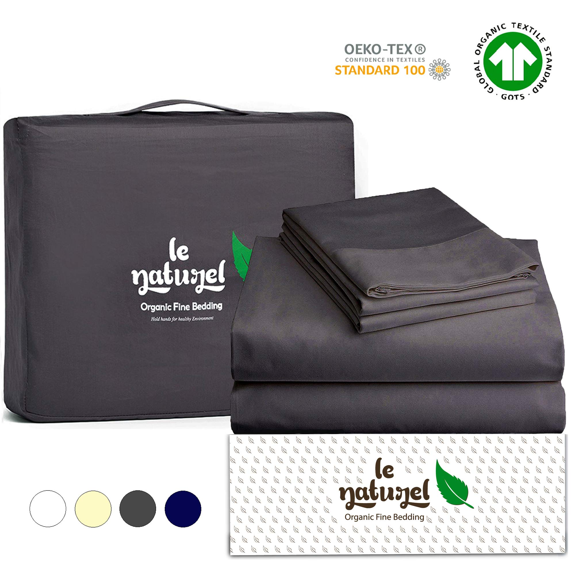 Le Naturel Organic Cotton Bed Sheets Twin - Organic Gray Sheets - 300 Thread Count Organic Cotton - Organic Cotton Sateen Sheets - Deep Pocket Organic Cotton Sheets - GOTS Certified Sheets