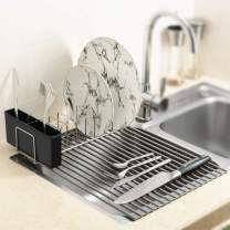 """iPEGTOP Roll-Up Dish Drying Rack and Utensil Plates Holders, Foldable Multipurpose Over Sink Dish Drainer, Anti Slip Silicon Coated Rust and Heat Resistant, 17.3""""L x 12.6""""W"""