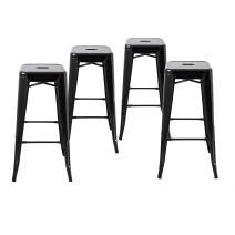"""Buschman Metal Bar Stools 30"""" Bar Height, Indoor/Outdoor and Stackable, Set of 4 (Black)"""