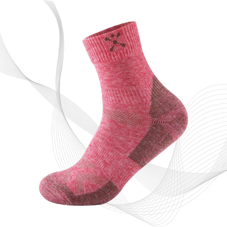 2 Pairs Women's Thick Heated Merino Wool Outdoor Hiking Quarter Socks