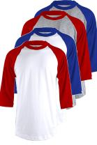 TOP LEGGING Men's 4 Pack Regular Fit 3/4 Sleeve Baseball T-Shirt -Cotton Raglan Jersey S-5XL