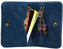 Bifold Minimalist Genuine Leather Wallet Leather Money Clip Slim Front Pocket Coin Card Holder (Blue)
