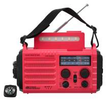 Portable Wind Up NOAA Weather Alert Radio Hand Crank Solar Self Powered AM FM SW Radio 2000mAh Rechargeable Battery for Phone Charger Compass Alarm Sound Flashlight Reading Lamp for Emergency Survival