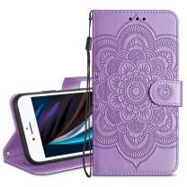 HianDier Wallet Case for iPhone SE 2020 8 7 Card Holder Case Kickstand Flip Cover Embossed Mandala Flower Lanyard Protective Soft PU Leather Cover Case for iPhone SE 2020 8 7 6 6s, Purple