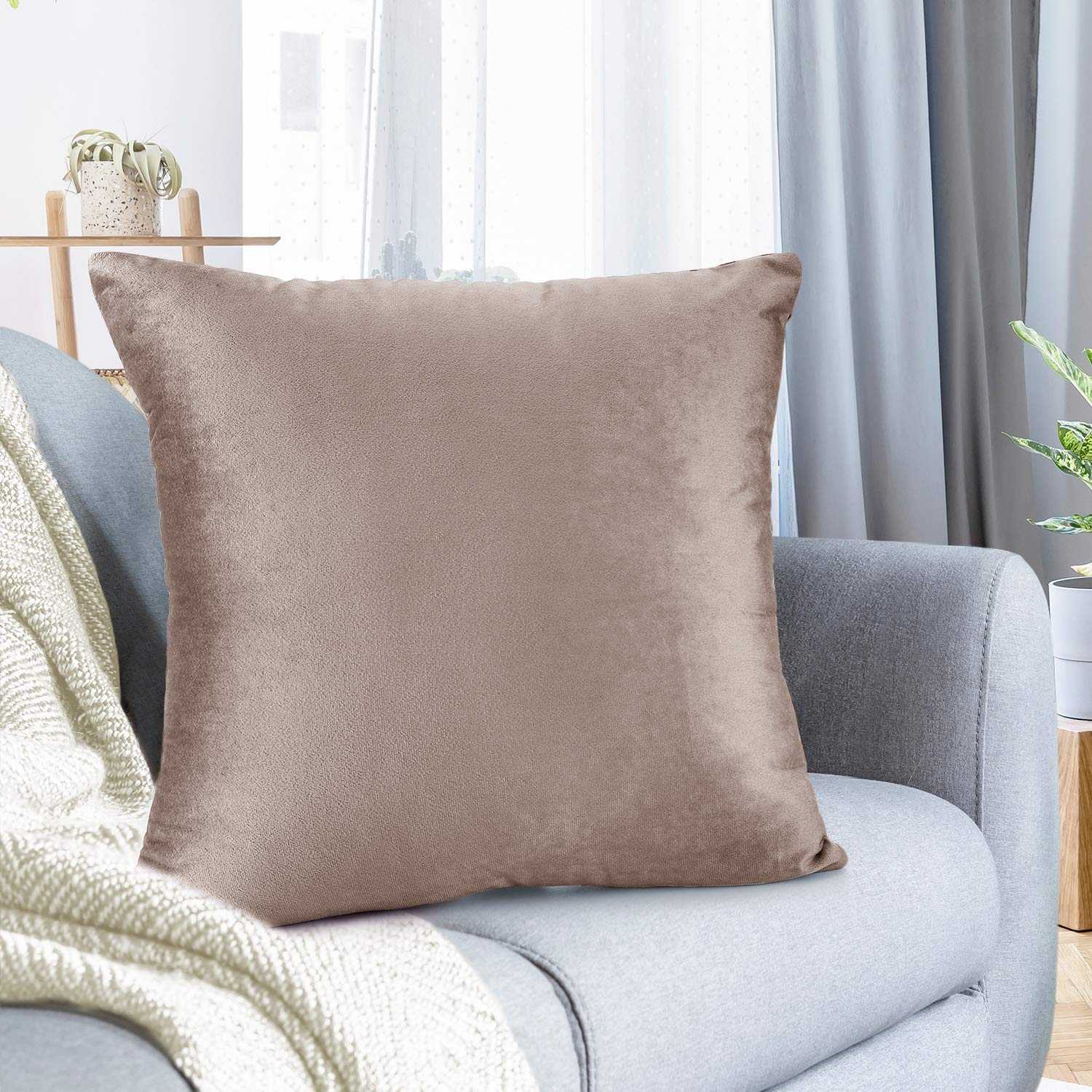 """Nestl Bedding Throw Pillow Cover 26"""" x 26"""" Soft Square Decorative Throw Pillow Covers Cozy Velvet Cushion Case for Sofa Couch Bedroom - Taupe Sand"""