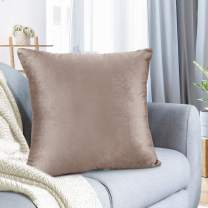 "Nestl Bedding Throw Pillow Cover 22"" x 22"" Soft Square Decorative Throw Pillow Covers Cozy Velvet Cushion Case for Sofa Couch Bedroom - Taupe Sand"