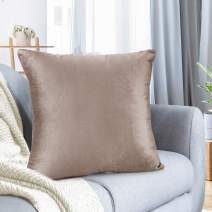"""Nestl Bedding Throw Pillow Cover 22"""" x 22"""" Soft Square Decorative Throw Pillow Covers Cozy Velvet Cushion Case for Sofa Couch Bedroom - Taupe Sand"""