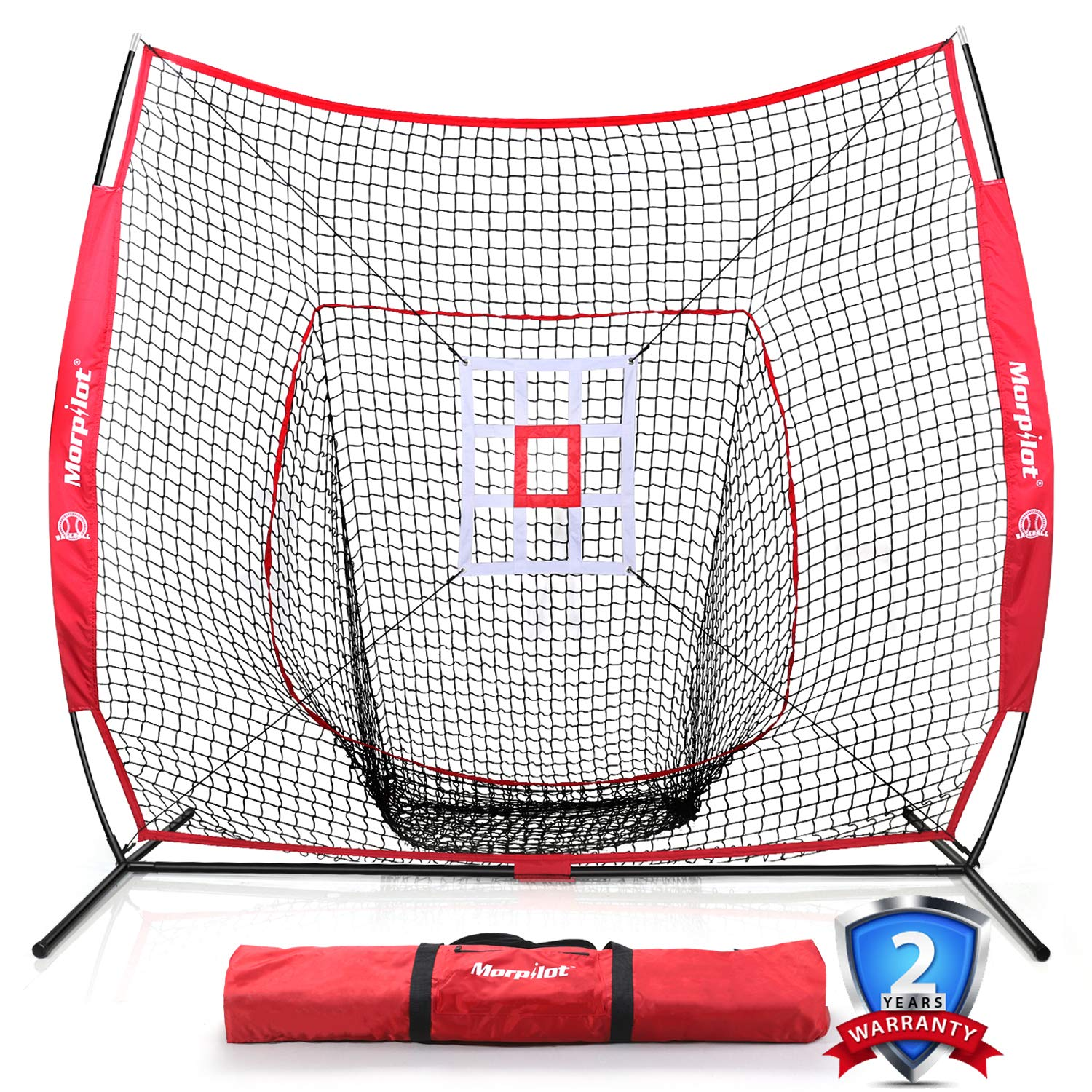 Keenstone 7' X 7' Baseball & Softball Practice Hitting & Pitching Net with Bow Frame, Carry Bag and Bonus Strike Zone, Great for All Skill Levels | Collapsible and Portable