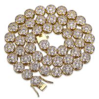 TOPGRILLZ 1 Row 14K Hip Hop Cluster Simulated Diamond Iced Out CZ Tennis Chain Link Necklace for Men