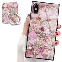 Pink Mermaid Scale Square Phone Case iPhone Xs Max Retro Elegant Phone Cover Soft TPU Case for iPhone Xs Max 6.5 inch