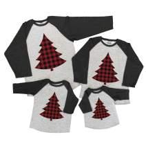 7 ate 9 Apparel Matching Family Christmas Shirts - Plaid Tree Grey Shirt Women's Small