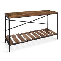 Kate and Laurel Garaghan Farmhouse Casual Console Table, Walnut Brown Wood Finish and Black Metal Frame