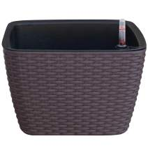 """TABOR TOOLS TB602A Self Watering Planter, Modern Decorative Planter Pot for Outdoor or Indoor Garden. Elegant Plastic Wicker """"Rattan-Look"""" Design, Suitable for All Plants & Flowers (Square, Coffee)"""
