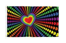 Rainbow Love 3x5 Foot LGBTQ+ Pride Flag - Bold Vibrant Colors, UV Resistant, Golden Brass Grommets, Durable 100 Denier Polyester, Mighty-Locked Stitching - Perfect for Indoor or Outdoor Flying!