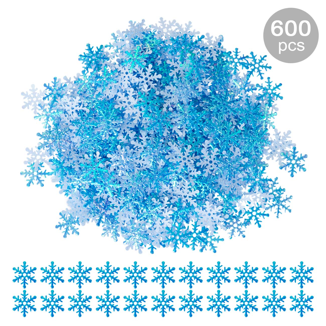GWHOLE 600Pcs Snowflakes Confetti for Wedding Birthday Holiday Party Table Decorations Supplies