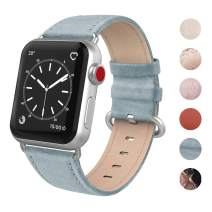 SWEES Leather Bands Compatible for iWatch 38mm 40mm, Genuine Leather Retro Vintage Replacement Strap Compatible iWatch Series 5 Series 4 Series 3 Series 2 Series 1, Sports & Edition, Retro Baby Blue