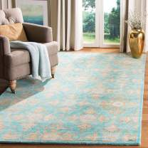 Safavieh Heritage Collection HG870A Handcrafted Traditional Turquoise and Multi Square Wool Area Rug (6' Square)