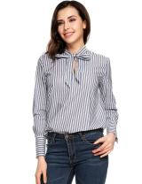 Zeagoo Womens Bow Tie Neck Long Sleeve Casual Work Striped Blouse Tops