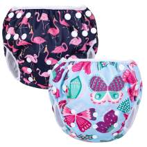 Luxja Reusable Swim Diaper (Pack of 2), Adjustable Swimming Diaper for Baby (0-3 Years), Butterfly + Flamingo