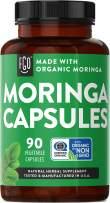 Organic Moringa Oleifera Leaf Powder | Lab Tested for Purity | Manufactured in USA | 90 Veggie Capsules | by FGO