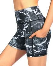 "G4Free Women's High Waist Yoga Shorts with Pockets 5"" Workout Biker Shorts Tummy Control Athletic Gym Short Leggings"