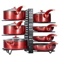 Glotoch Pot Rack Organizer,3 DIY Methods, Adjustable Height and Position, 8+ Pots Holder, Black Metal Kitchen Cabinet Pantry Pot Lid Holder(Upgraded)