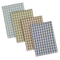 """DII Cotton Heavyweight Plaid Dish Cloths Kitchen Gift, 12 x 12"""" Set of 4, Drying and Cleaning Kitchen Bar Towels for Everyday Cooking and Baking-Lake House Check"""