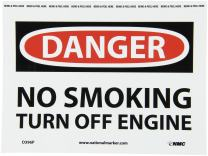 "NMC D396P OSHA Sign, Legend ""DANGER - NO SMOKING TURN OFF ENGINE"", 10"" Length x 7"" Height, Pressure Sensitive Vinyl, Black/Red on White"