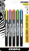 Zebra Zebrite Double-Ended Highlighter, Medium Chisel Point and Fine Point,  Assorted Colors, 5-Count