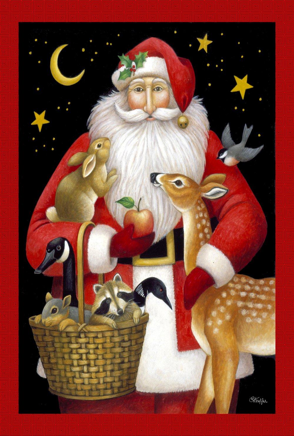 Toland Home Garden Santa's Friends 12.5 x 18 Inch Decorative Colorful Winter Holiday Christmas Animal Deer Bird Garden Flag - 119695, Red/White/Black