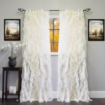 """Sweet Home Collection Sheer Voile Vertical Ruffled Window Curtain Panel 50"""" x 84"""", 84"""" x 50"""", Ivory, 2 Count"""